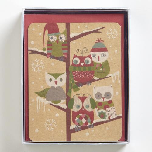 Fall Owls with Snow Boxed Holiday Cards, Set of 15