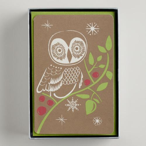 Snowy Owl Boxed Holiday Cards, Set of 15