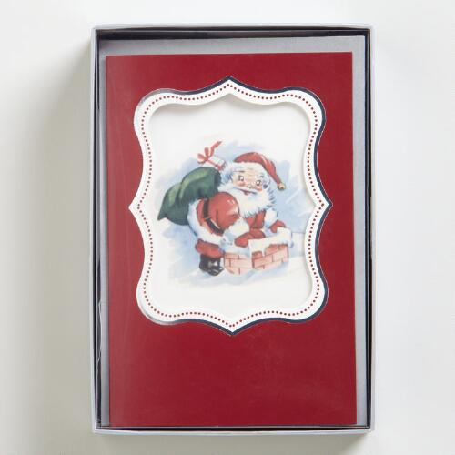 Vintage Santa Boxed Holiday Cards, Set of 15