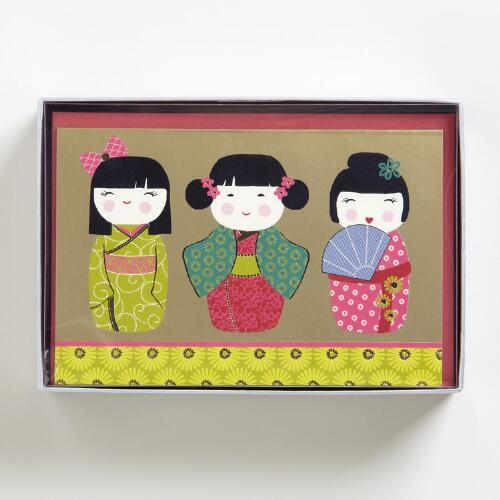 Kokeshi Dolls Boxed Holiday Cards, Set of 15