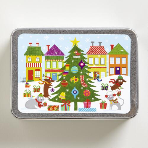 Friendly Festivities Holiday Cards Tin, Set of 15