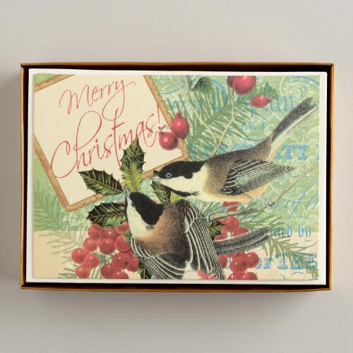 Merry Christmas Chickadees Boxed Holiday Cards, Set of 15