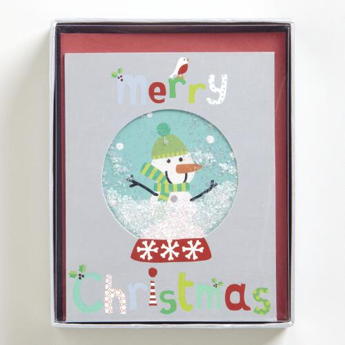 Snow Globe Sentiments Boxed Holiday Cards, Set of 15