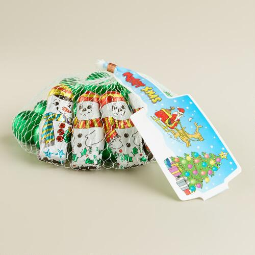Laica Chocolate Snowmen and Green Balls in Mesh Bag