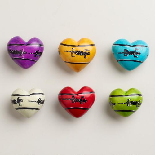 Large Kisii Soapstone Heart With Animals, Set of 6