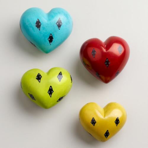 Large Kisii Soapstone Heart With Pattern Details, Set of 4