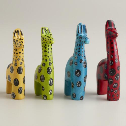 Assorted Mini Kisii Soapstone Giraffes, Set of 4