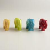 Assorted Mini Kisii Soapstone Elephants, Set of 4