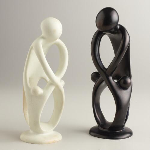 Black and White Family Kisii Soapstone Statue