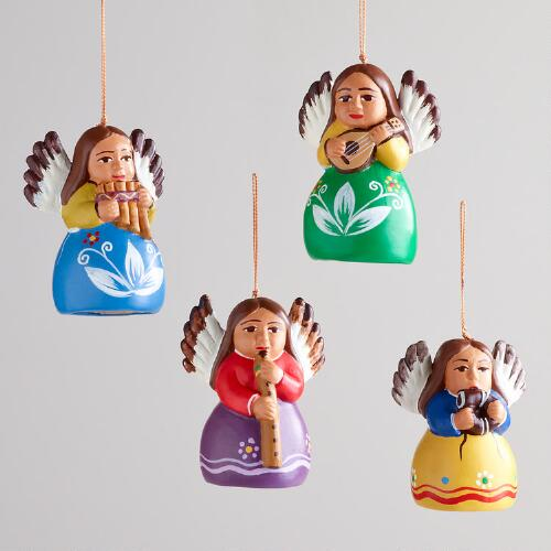 Peruvian Angels Ornaments, Set of 4