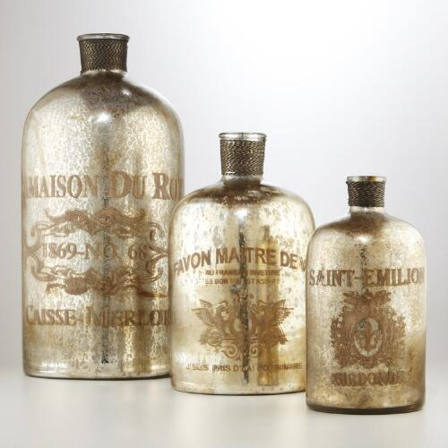 Etched Mercury Glass Bottles