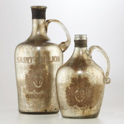 Mercury Glass Handled Bottles