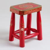 Red Anchita Elephant Game Table Stool