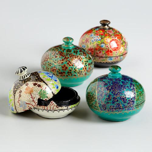 Multicolored Round Paper Mache Box