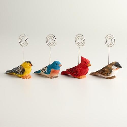 Wooden Bird Cardholders, Set of 4