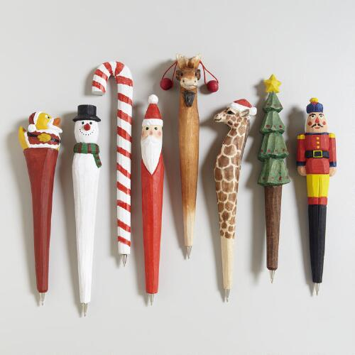 Assorted Christmas Wooden Pens, Set of 8