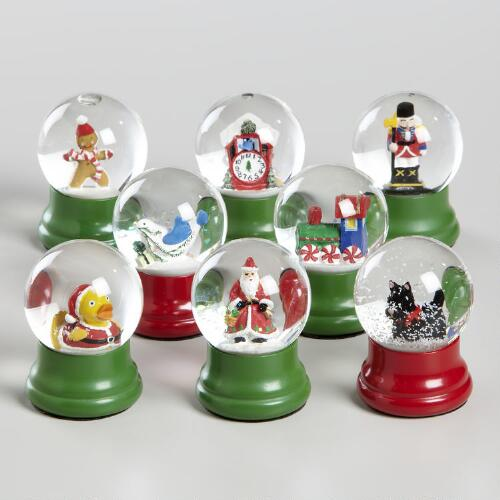 Mini Holiday Water Globes, Set of 8