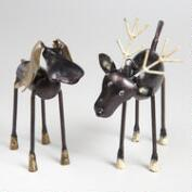 Moose and Reindeer Christmas Figures, Set of 2