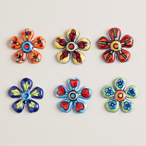 Assorted Colors Ceramic Flower Magnets, Set of 6