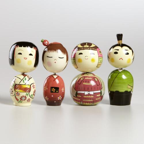Japanese Characters Bobble Heads, Set of 4