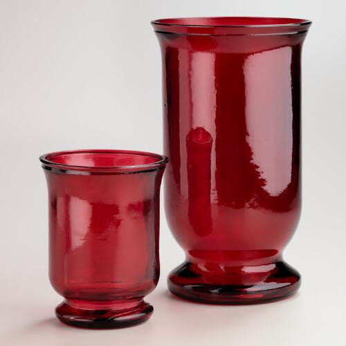 Red Recycled Glass Hurricane Candleholders