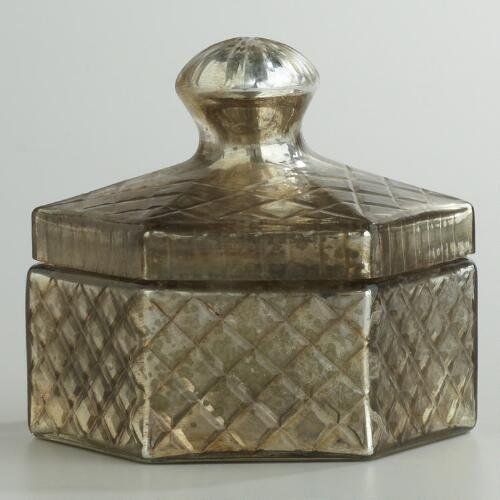 Hexagon Mercury Glass Candle Pot with Lid
