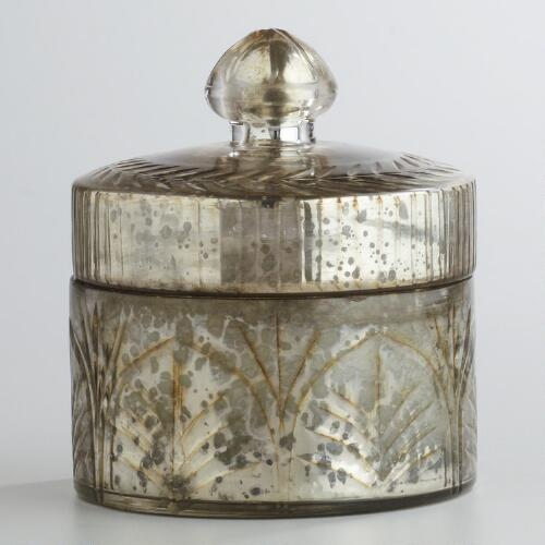 Round Mercury Glass Candle Pot with Lid