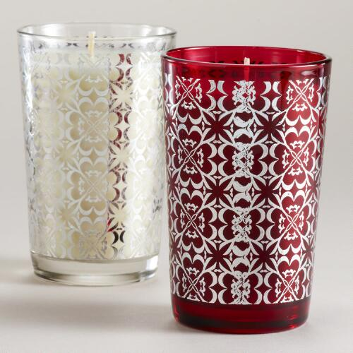 Etched Filled Votive Candles, Set of 2