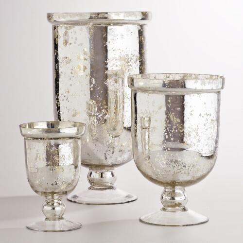 Silver Mercury Glass Hurricane Holders