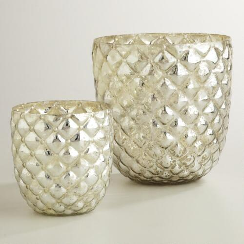 Silver Hexagonal Mercury Glass Hurricane Holders