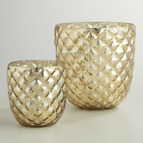 Champagne Gold Hex Mercury Glass Hurricane Candleholder