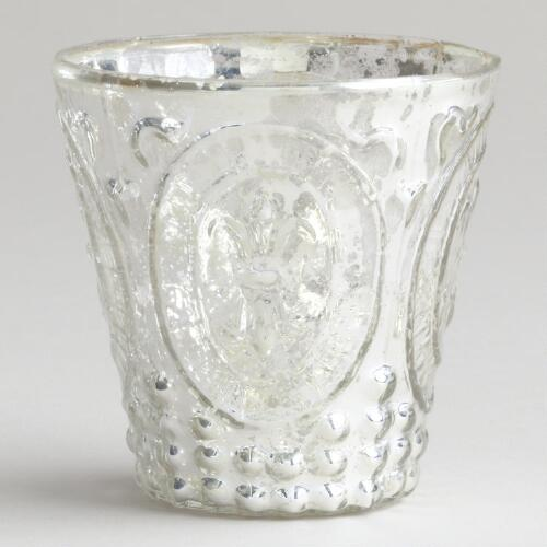 Silver Fleur De Lys Mercury Glass Votive Holder