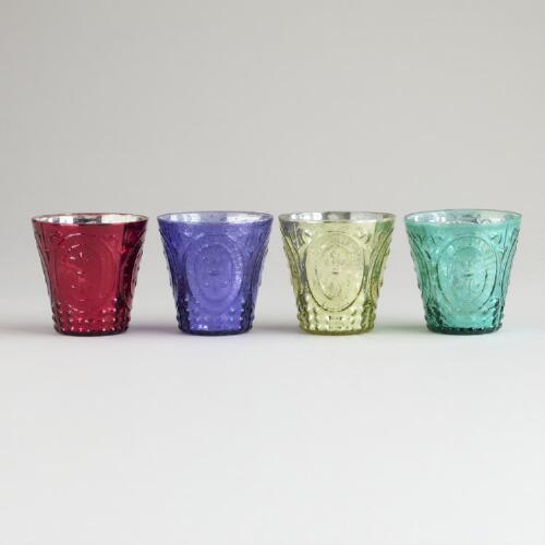 Fleur De Lys Mercury Glass Votive Holders, Set of 4