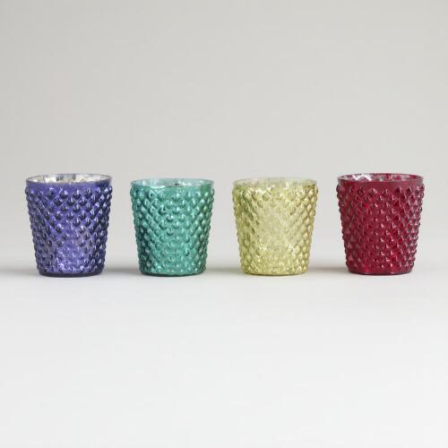 Dimpled Mercury Glass Tealight Holders, Set of 4
