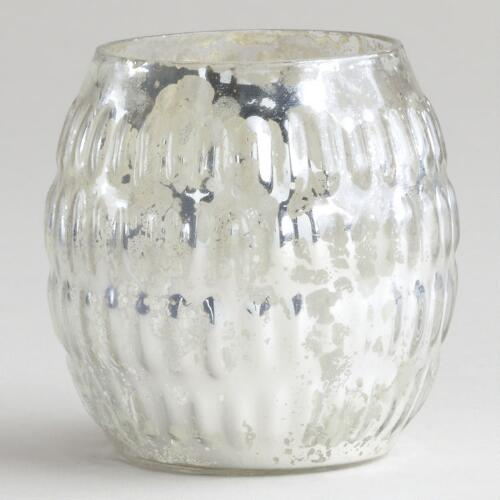Silver Round Mercury Glass Tealight Holder