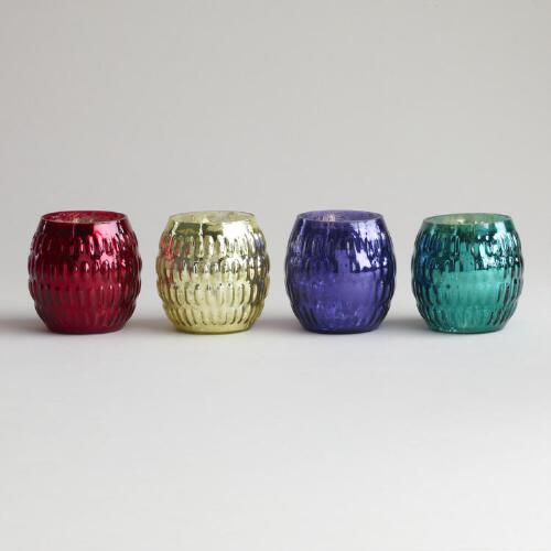 Round Mercury Glass Tealight Holders, Set of 4
