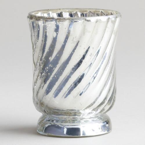 Silver Flared Mercury Glass Tealight Candle Holder