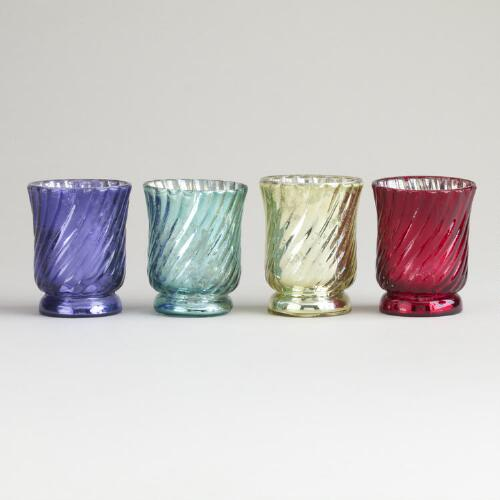 Flared Mercury Glass Tealight Holders