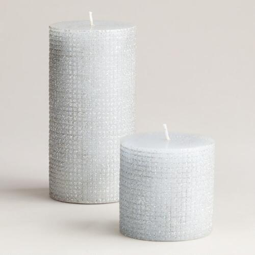 Silver Metallic Pillar Candles
