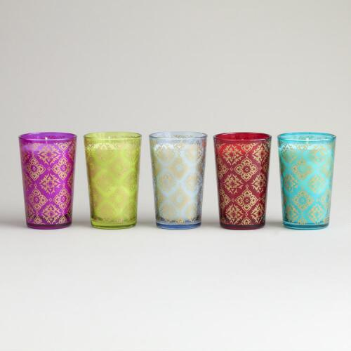 Large Metallic Print Votive Candles, Set of 5