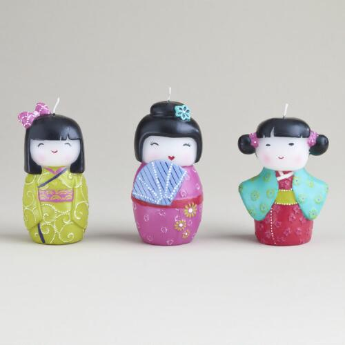 Kokeshi Girl Candles, Set of 3