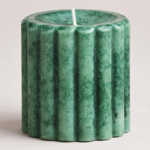 "3"" Pine Green Ribbed Pillar Candle"