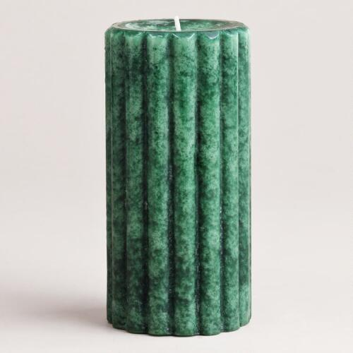 "6"" Pine Green Ribbed Pillar Candle"