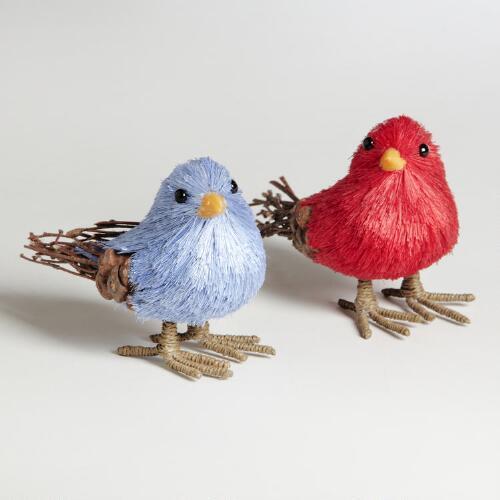 Natural Fiber Birds, Set of 2