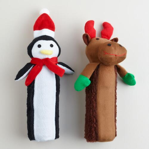 Penguin and Reindeer Christmas Bottle Chew Toys, Set of 2