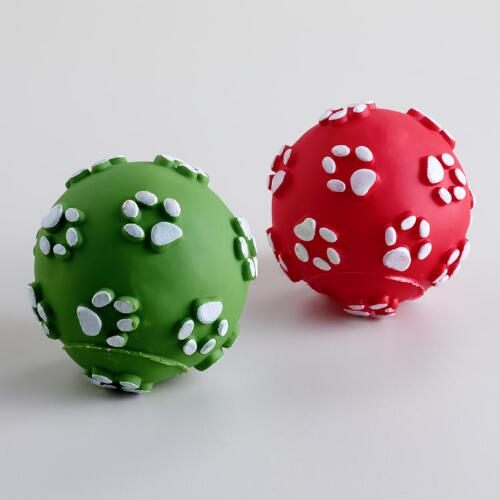 Dog Paw Rubber Balls, Set of 2