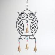 Iron and Glass Bead Owl Wind Chime