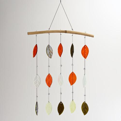Bamboo and Glass Leaves Wind Chime