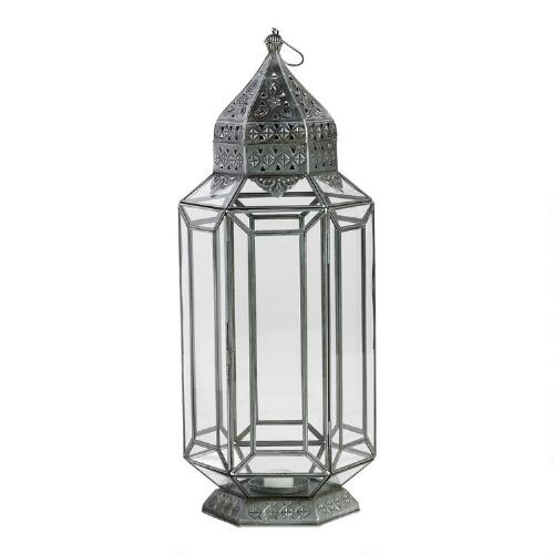 Metal Facet Glass Lantern