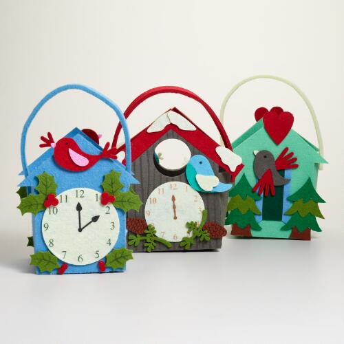 Felt Cuckoo Clock Containers, Set of 3